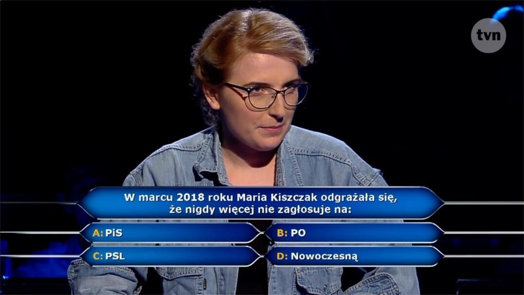 """Pytanie z """"Milionerów"""" o Marię Kiszczak za ćwierć miliona złotych"""