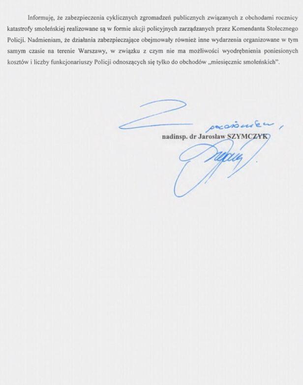 Odpowiedź Komendanda Głównego Policji w sprawie miesięcznic smoleńckich - część 2