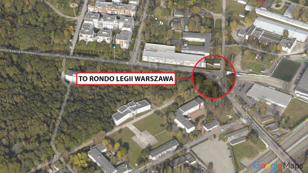 Legia Warszawa ma swoje rondo Google Maps