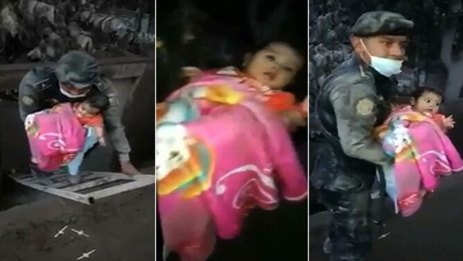 Dziewczynka uratowana spod popiołów. <br />Na liście zabitych ponad 70 osób