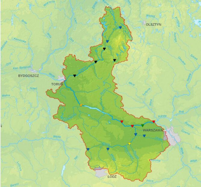 Sytuacja hydrologiczna na od Narwi do Drwęcy wg stanu na godz. 12 (IMGW)