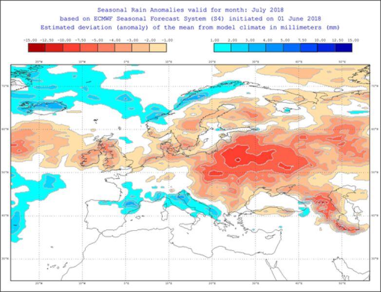 Odchylenie opadów od normy w lipcu (ECMWF)