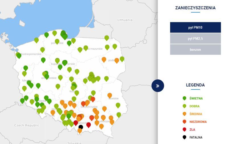 Stężenie pyłów PM10 o godzinie 19 (tvnmeteo.pl za GIOŚ)